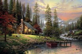 a peaceful retreat thomas kinkade forest house dogs painting