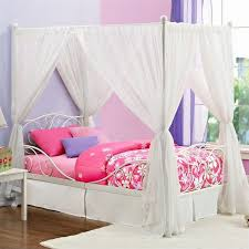metal twin canopy bed in white 3265098