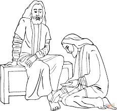 jesus foot washing coloring page free printable coloring pages