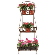 decmode rustic iron 3 tier upright plant stand cart hayneedle