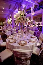 reception décor photos white gold tablescape with purple