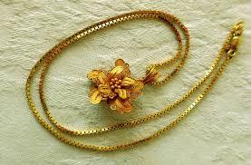 gold flower pendant necklace images Vintage necklace 21k gold flower pendant 14k gold box chain from jpg