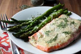 dill mustard salmon with dill mustard sauce and sautéed asparagus