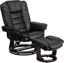 contemporary black leather recliner and ottoman with swiveling