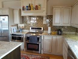 White With Brown Glaze Kitchen by Glazed Wooden Kitchen Island With Golden Contour Ornaments