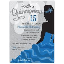 quince invitations blue silhouette quinceanera party invitations paperstyle
