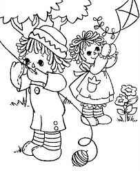 raggedy ann andy playing kite coloring netart