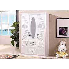 Mirrored Bedroom Furniture Uk by Modern 3 Door White Wardrobe With Two Drawers Hanging Rail And An