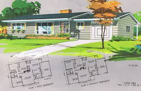 mid century modern house plans ranch floor vintage hahnow