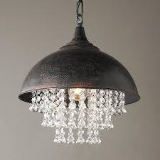Chandelier Canopy by Metal Dome Pendant With Crystals Canopy Urban And Chains