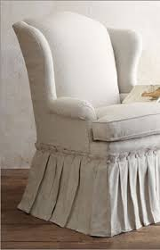 Slipcover Wing Chair Willow Wisp Cottage Gorgeous Slipcover With Button U0026 Pleated Skirt