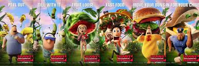 cloudy with a chance of meatballs 2 posters featuring characters and