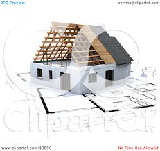 clipart illustration of a 3d house on blue print plans by frank