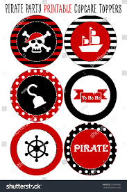 pirate party party set printable pirate party eps stock vector 326486486