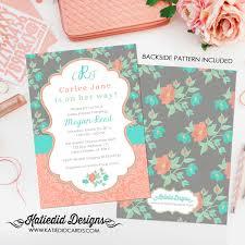 baby shower invitation floral monogram baby sprinkle
