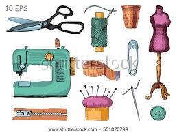 tools materials sewing needlework vector sketch stock vector