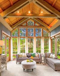 House Plans With Vaulted Great Room by Beautiful Gray Great Room With Vaulted Wood Ceiling Harmony