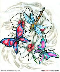 dragonfly and butterfly design animals