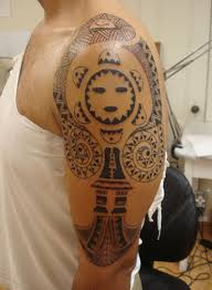 5 taino sun tattoos on half sleeve
