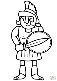cartoon ancient greek soldier coloring page free printable