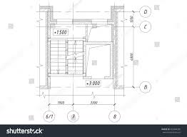 part plan apartment house stairs elevator stock illustration