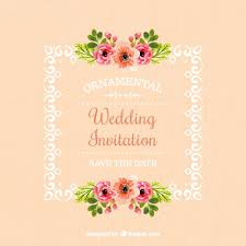 wedding invitation of frame with floral details vector free download