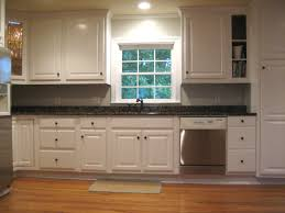White Kitchen Cabinets Backsplash Dark Brown Laminated Wooden Long - Single kitchen cabinet