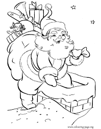 christmas santa claus chimney coloring
