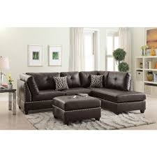 yerevan sectional sofa upholstered in bonded leather overstock