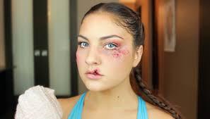 cream halloween makeup boxer makeup with bruising stitches u0026 split lip sfx halloween