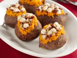 stuffed sweet potatoes with pecan and marshmallow streusel recipe