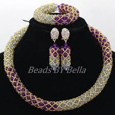 necklace sets wholesale images Wholesale purple gold crystal african choker necklace sets jpg