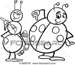 clipart ant ladybug coloring k19260191 clip