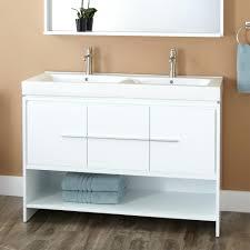 white vanity trough sink faucets wood flooring mirrored modern