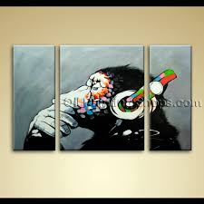 Oversized Wall Art by Of Thinking Monkey With Headphone Large Wall Art Painting On Canvas