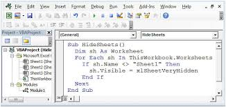 how to hide multiple sheets using vba in microsoft excel 2010