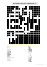 write the pattern of past tense and give exle irregular past participle verbs crossword worksheet free esl