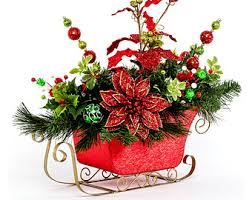 whimiscal flower arrangements sleigh