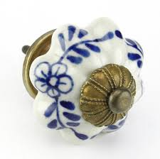 Retro Kitchen Cabinet Hardware Blue Floral Ceramic Cabinet Knob Drawer Pull U0026 Handles Set 8pc
