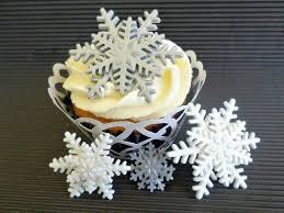 24 edible fondant snowflakes cake cupcake topper frozen party