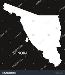 Map Of Sonora Mexico by Sonora Mexico Map Black Inverted Silhouette Stock Vector 591336656