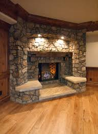 decorations rustic exposed stone fireplace design with wooden
