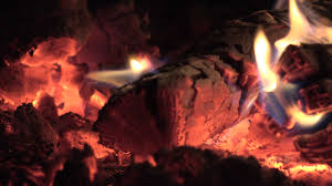 flames on dying embers in fireplace in fire in stove 4k stock