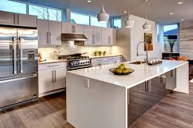 contemporary kitchen with hardwood floors undermount sink in