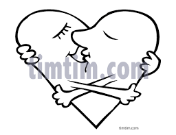 free drawing of a valentine kiss bw from the category dating love