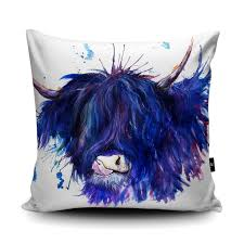 blue highland cow chair cushion katherine williams kukoon