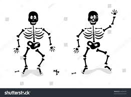 black and white halloween background silhouette black skeleton silhouette halloween isolated on stock vector