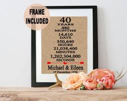 40th wedding anniversary gifts for parents 40th anniversary etsy