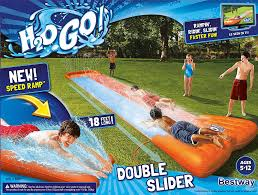 amazon com h2ogo double water slide w speed ramp toys u0026 games