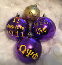 gift set of fraternity ornaments inspired by omega psi phi 1911